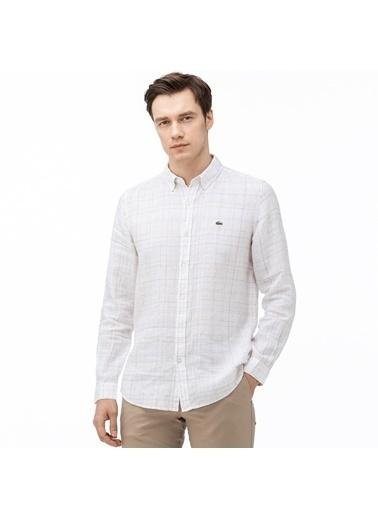 Lacoste Erkek Slim Fit Ekose Gömlek CH0010.10A Beyaz